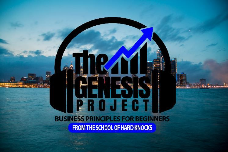 The Genesis Project Podcast Logo in front of a Detroit city skyline