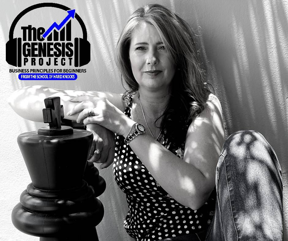 Guest professor Landie Stevens sitting on the ground, leaning on a wall and her arm resting on a oversized chess piece, with The Genesis Project Podcast logo in the top left corner.