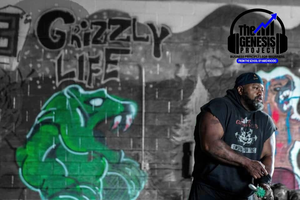 """Guest professor Chris """"Grizzly"""" Huff in his gym after finishing a set"""