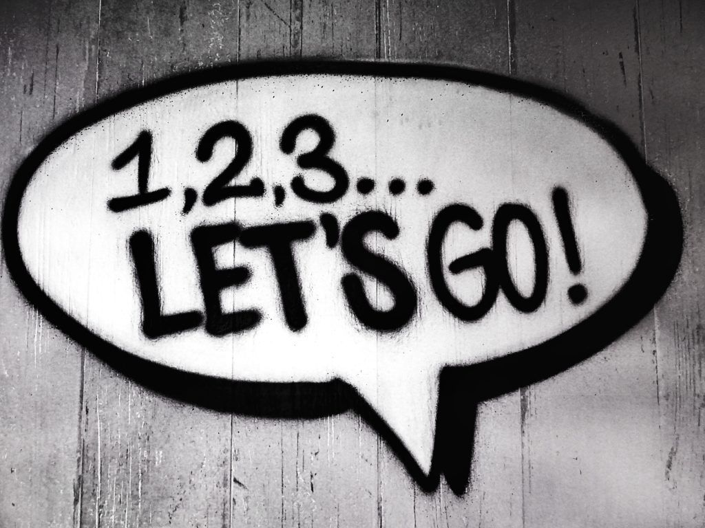"A text bubble that says ""1,2,3,...Let's Go!"""